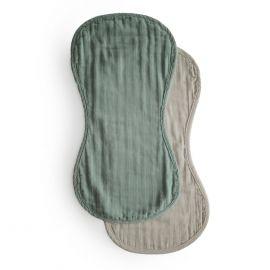 Lot de 2 bavoirs d'épaule - Roman green & Fog