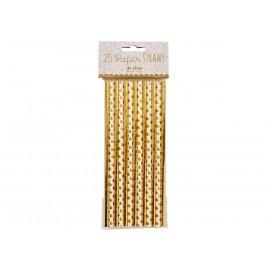 set de 25 pailles dorées