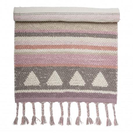 tapis rose en coton