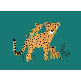 carte postale guépard & petits